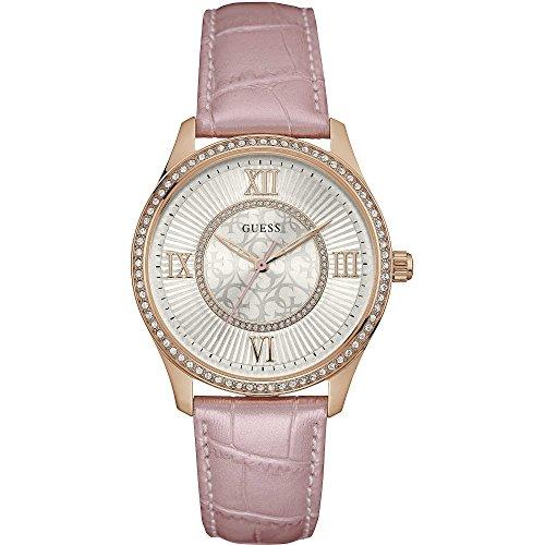 Guess W0768L3 - Reloj con correa de piel, para mujer, color plateado / rosa