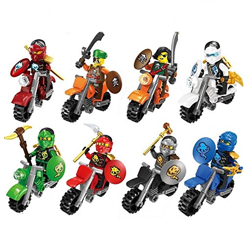 8Set ActionFigures Minifigures[SuperHeroes Black/Red/Blue Moto With Sword] Mini Blocks Building Blocks ()