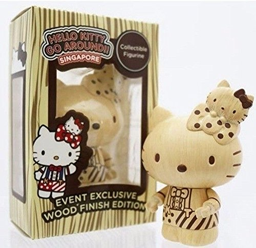 Hello Kitty Go Around Singapore Collectible Figurine - Wood Finish Edition