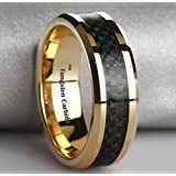 LUXURY Black Carbon Inlay Gold Plated Tungsten Carbide Wedding Engagement Band Ring