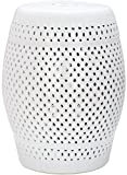 Safavieh Castle Gardens Collection Diamonds Ceramic Garden Stool, White