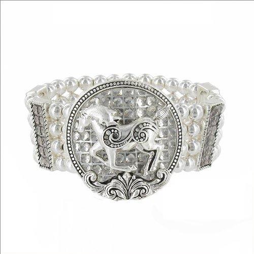 JOA Crystal Circle & Horse Stretch Bracelet #034125