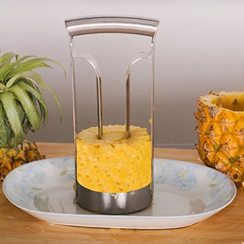 kitchenhoney Pineapple Corer Slicer Ring Cutter Peeler Wedge Walmart- Professional Chef Cookie Products Gadgets- Large Server Stainless Steel Fruit Cutting
