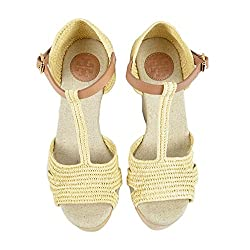 Tory Burch Carina Straw 120MM Wedge Sandal Natural/Royal Tan Size 9.5