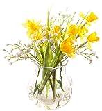 Peony 7306 Artificial Daffodils and Gypsophila in a Garlic Vase