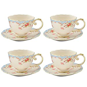 Gracie China Vintage Blue Rose Porcelain 7-Ounce Tea Cup and Saucer Set of 4 by Gracie China Coastline Imports