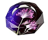 Gracave Crystal Cigarette Ashtray 【Black*purple】 Home Office Tabletop Beautiful Decoration