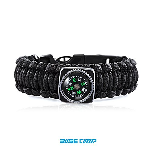 Basecamp® Fashionable Hand Made Sport Bracelet with Compass Cutter Firestarter Whistle Outdoor Survival Paracord Rope - Essential Emergency Gear (Black)
