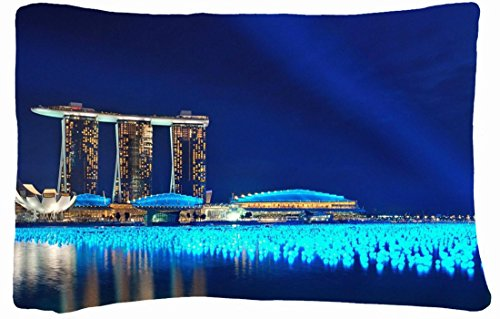 Microfiber Peach Queen Size Decorative Pillowcase -Cities Travel Marina Bay Sands Wallpaper front-702599