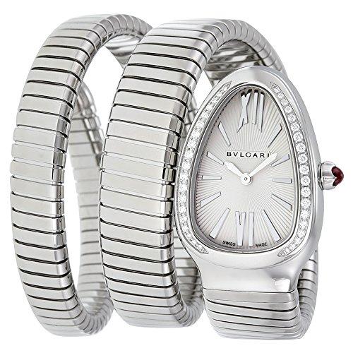 Bulgari Women's Serpenti Diamond Silver Textured Dial Flexible SS Double Wrap-Around