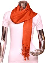 Fash Apparel Elegant Solid Color Viscose Fringe Scarf - Orange