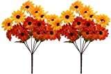 Fourwalls Artificial Sunflower Bunch (35 cm, Sunred, 6 Branches, Set of 2)