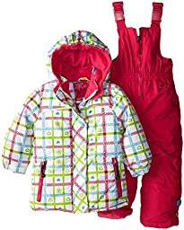 Rugged Bear Little Girls\' Heart Plaid All Over Printed Snowsuit, White, 2T