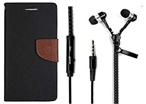 Novo Style Book Style Folio Wallet Case Apple iPhone 5 Black + Zipper Earphones/Hands free With Mic 3.5mm jack