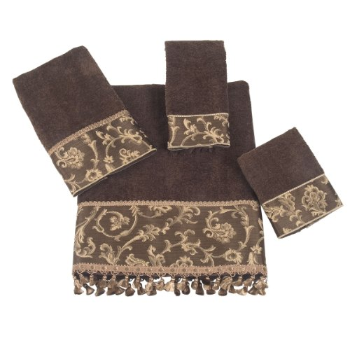 Avanti Damask Fringe 4-Piece Towel Set, Mocha