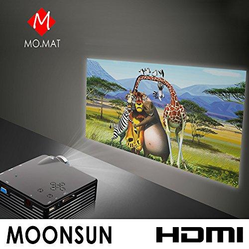 "Moonsun Portable Smart Fhd 1080P Led Mini Home Projector 80"" 16:9 Support Hdmi / Vag / Usb 2.0 / Av / Sd--Matte Black"