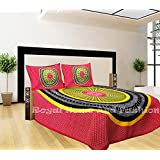 RHF Traditional Printed Double Bed Sheet / Bed Cover Sanganeri Print Cotton Printed (1 Double Bedsheet With 2 Pillow Cover, Multi Colour)