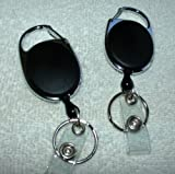 BLACK Carabiner Style Retractable Reel. Ideal For Holding A Key, ID Badge Holder, Proximity Card. Sold Individually
