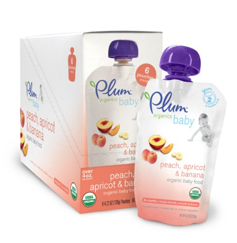 Plum Organics Baby Food, Peach, Apricot & Banana, 4.22-Ounce Pouches (Pack of 24)