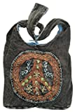 Peace Sign Embroidered Stonewashed Sling Bag