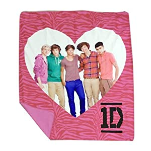 One Direction Pink Zebra Throw - Features 1D in a Heart by Jay Franco and Sons