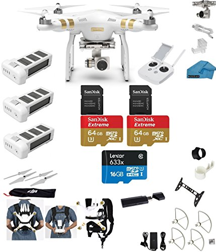 DJI Phantom 3 Professional (Pro) 4K Video Camera EVERYTHING YOU NEED Kit + 3 Total DJI Batteries + Snap on Guards + 2 64GB UHS-I/U3 SD Cards + Reader + Carry System w/Harness