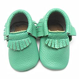 Sayoyo Baby Light Green Tassels Soft Sole Leather Baby Shoes Baby Moccasins (Newborn , Light green)