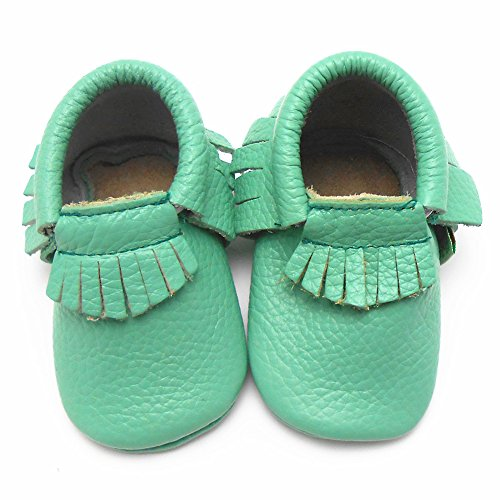 Sayoyo Baby Light Green Tassels Soft Sole Leather Baby Shoes Baby Moccasins (12-18 months , Light green) - 1