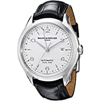 Baume and Mercier Clifton Dual Time Silver Dial Black Alligator Leather Men's Watch