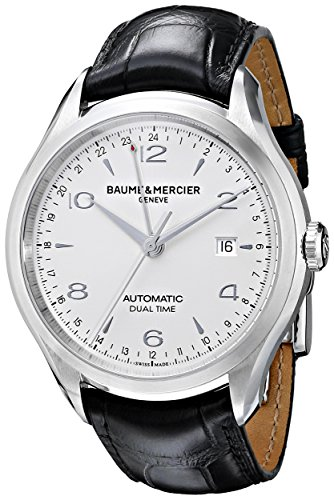 Baume and Mercier Clifton Dual Time Silver Dial Black Alligator Leather Mens Watch M0A10112