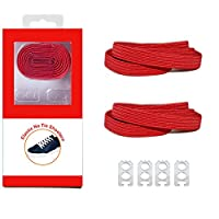 DB Elastic No Tie Shoelaces for Kids and Adults - Red Wide Athletic Shoelaces - Running Shoelaces for Sneakers and Casual Shoes ...