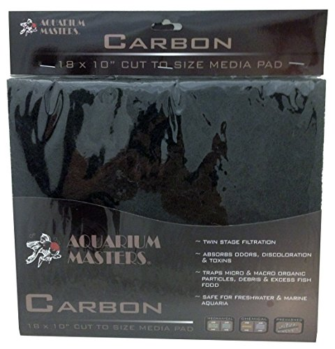 Professional Super Activated Carbon Pad, 18 Inch By 10 Inch, Options Of Nitrate, Ammonia, Phosphate Remover Pads, And Dual Bonded Pads For Fresh Water & Saltwater Aquariums, Terrariums & Hydroponics! (Carbon Pads compare prices)