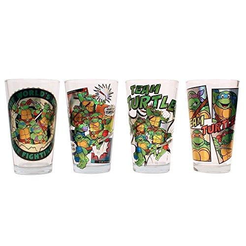 Nickelodeon NT031P13Z 4 Piece Silver Buffalo Teenage Mutant Ninja Turtle Laser Print Glass Set, 16 oz, Multicolor (Ninja Turtles Glasses compare prices)
