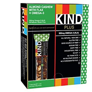 KIND PLUS, Almond Cashew + Omega-3, Gluten Free Bars (Pack of 12)