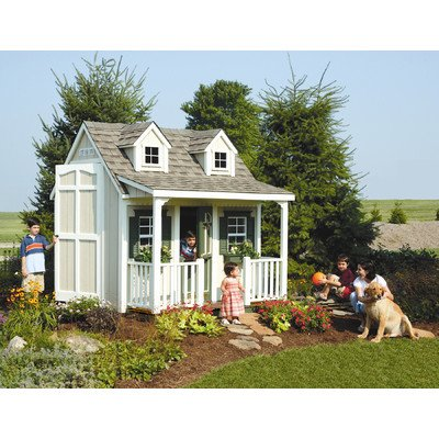 Homeplace W89L Backyard Cottage Playhouse with Front Porch, Dormers and Loft
