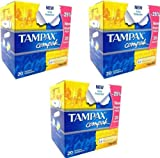 3x Tampax Compak Extra Protection Regular 20 Applicator Tampons