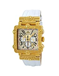 "JBW-Just Bling Men's JB-6215-B ""Phantom"" White Gold-Tone Chronograph Leather Diamond Watch"