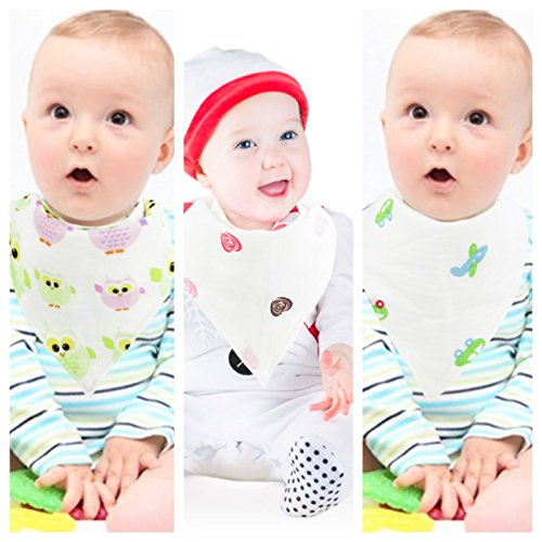 Muslin Cotton Baby Bibs & Burp Cloth For Drooling & Feeding. Multi Layers Drool Bibs For Shower.
