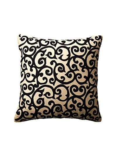 Cloud 9 Embroidered Throw Pillow, Beige/Black