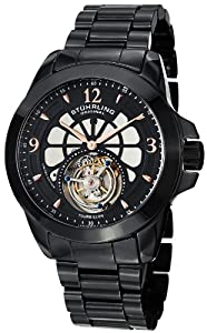 Stuhrling Original Men's 475.33OB41 Tourbillon Specter Limited Edition Mechanical Black Ceramic Watch