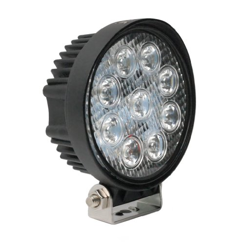 "Jumbl™ High Power 27W 4"" Inch 1800 Lumens 60 Degree Flood Round White Led Light - Auxiliary Off Road Work Lamp For Car, Suv, Tractor, Boat, 4X4, Truck, Atv"