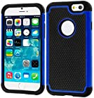 myLife Ultra Blue + Glamorous Black {Armor Bumper Design} 2 Layer Hybrid Case for the NEW iPhone 6 (6G) 6th Generation Phone by Apple, 4.7 Screen Version (Single External Fitted Hard Protector Shell + Full Body Internal Silicone EASY-Grip Bumper Gel Protection)