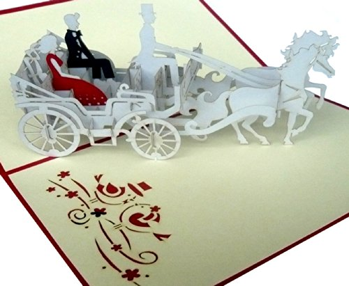 "POP Up 3D greeting cards ""Bride and groom in the Wedding Carriage"""