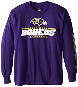 NFL Baltimore Ravens Men's Primary Receiver IV Long Sleeve Tee, Dark Purple, Small