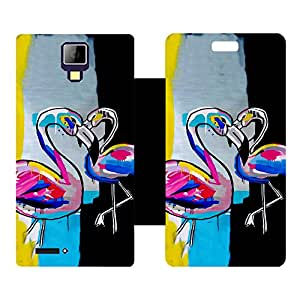 Skintice Designer Flip Cover with Vinyl wrap-around for Micromax Canvas Xpress A99 , Design - Swan Art