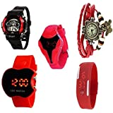 MKS Birthday Gift Red Digital - 1 Analog-Digital Watch - For Boys & Girls Set Of 5 Watch