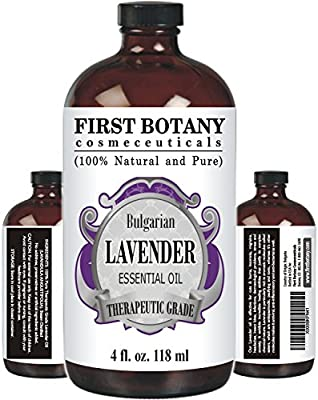 Bulgarian Lavender Essential Oil with a Glass Dropper - Big 4 fl. oz - 100% Pure and Natural Oil with Premium Quality & Therapeutic Grade - Ideal for Aromatherapy, Massages for Pain Relief, Anxiety and Stress Relief, Hair Care and Skin Care, Bug Repellent
