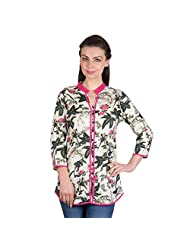 Ayaany Multi Colored Printed 3/4th Sleeve Cotton Kurti For Women