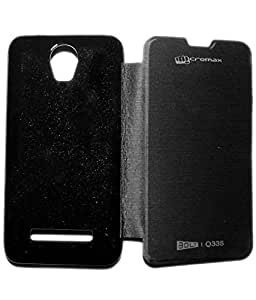 Aara Rich Diary Smart Case Flip Cover Pouch Battery Back For Micromax Bolt Q335 - Black