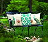 Parisian Peacock and Teal Ikat Indoor/Outdoor Weather Resistant Fabric Pillows (Set of three 18 inch) - Made in the USA